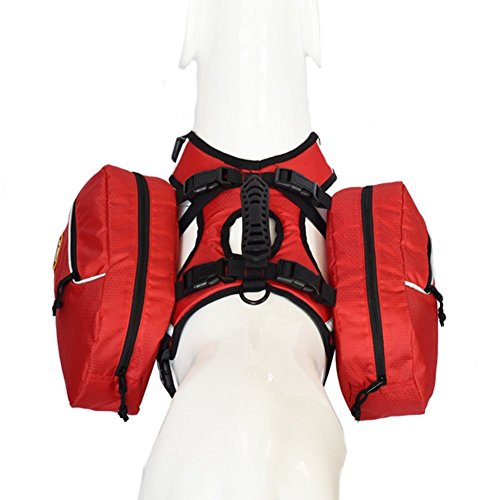 smartelf Hunde-Satteltaschen-Rucksack, verstellbar, Wanderausrüstung, 2 in 1 Packung, für Reisen, Wandern, Camping, mittelgroße und große Rassen
