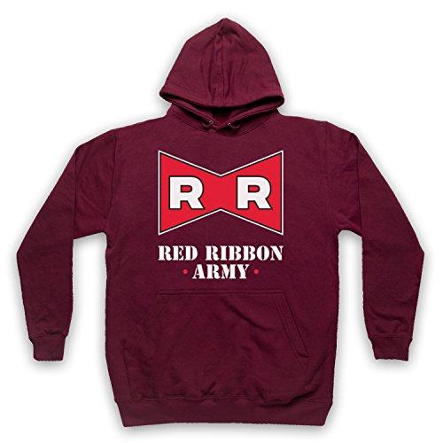 My Icon Art & Clothing Dragon Z Red Ribbon Army Erwachsenen Kapuzensweater, Burgund, 2XL