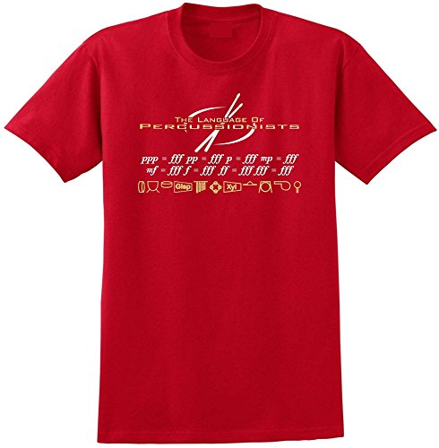 MusicaliTee Percussion Language of Percussion PPP=FFF - Red Rot T Shirt Größe 87cm 36in Small