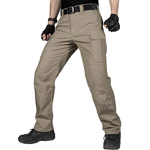 FREE SOLDIER Men's Water Resistant Pants Relaxed Fit Tactical Combat Army Cargo Work Pants with Multi Pocket (Khaki, 34W/30L)