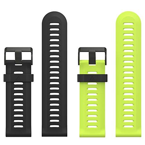 MoKo Pulsera Compatible con Fenix 3/3 HR/5X/5X Plus/D2 Delta PX/Tactix Bravo/Descent Mk1/Quatix 3, [2 Pzs] Correa de Silicona Respirable y Reemplazable, Banda de Reloj Deportivo - Negro & Verde
