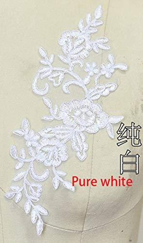 Geborduurde kanten applique kanten rand voor doe-het-trouwjurk gebroken wit/rood/gebroken wit met zilverkleur 4 stuks / 2 paar 24,5 * 9,5 cm, puur wit
