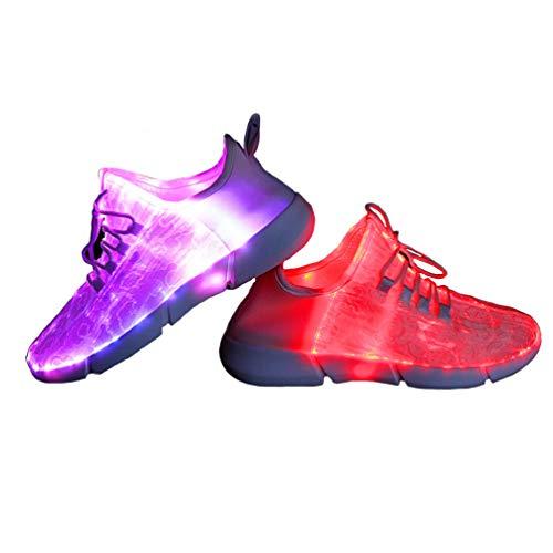 HBGiSi Fiber Optic LED Shoes Light Up Shoes for Women Men USB Charging Flashing Luminous Fashion...