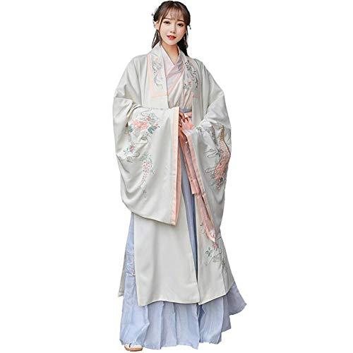 JINPENGRAN Capa de Capas de Mujer Tradicional Hanfu Cuello Cruzado Bordado Cuello de Hadas Frescas Disfraz de Traje,XL