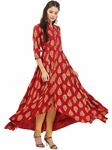 Dream Angel Fashion Women Dress Kurti Bollywood Designer Printed Anarkali Suit Kurta Ready to Wear (XX Large, Black-Red)