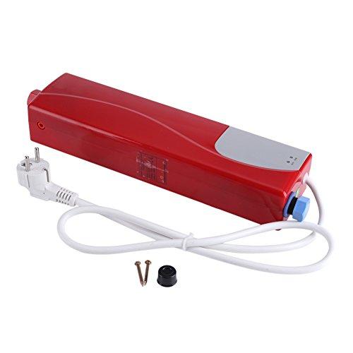 EBTOOLS Elektrischer Mini-Durchlauferhitzer, elektrischer Durchlauferhitzer, tragbar, Durchlauferhitzer, Badezimmer, 3000 W, automatisch, Wasseraufbereitung für Küche, Bad (rot)