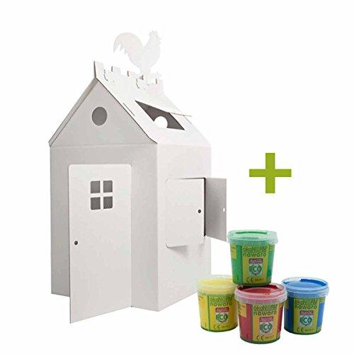 4betterdays.com NATURlich leben! Papp-Haus/Spielhaus aus Pappe zum selbst basteln - inkl. Öko Fingerfarben - Höhe: 120 cm, Breite: 66 cm, Länge: 70 cm