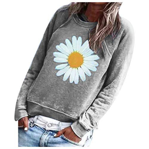 Find Bargain AHUIGOYCE Women Printing O-Neck Long Sleeve Tops Loose Pullover Sweatshirt Casual Blous...