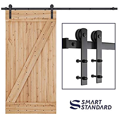 """SMARTSTANDARD 8ft Heavy Duty Sturdy Sliding Barn Door Hardware Kit - Smoothly and Quietly -Easy to Install -Includes Step by Step Installation Instruction-Fit 42""""-48""""Wide Door Panel (I Shape)"""