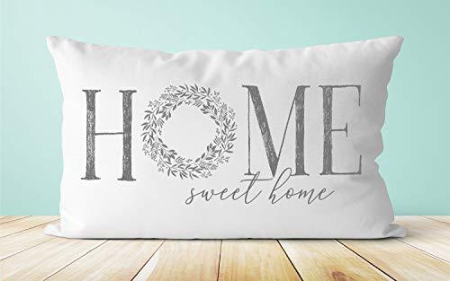 Miiyu6Bird Home Sweet Home Kissen Haus Einweihungsgeschenk Bauernhaus Stil Kissen Kranz Kissen Home Kissen Spruch Kissen Landhaus Dekor