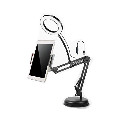 ZJING Super Große Blende LED-Ring Füllen Licht Selfie-Shooting, Mit Faulen Desktop-Cantilever Handy Live-Halterung Multifunktions Kreative Uhr TV Tablet-Ständer,M