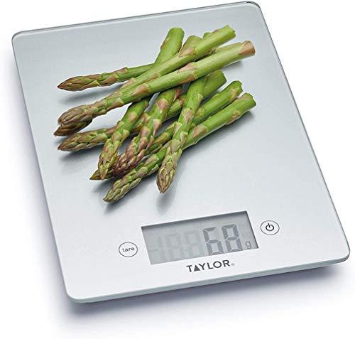 Taylor Pro Balanza Digital de Vidrio de Cocina, Diseño Compacto y fino, Nivel Profesional con Función de Peso con Tara, Acabado en Plata, 5 kg de Capacidad