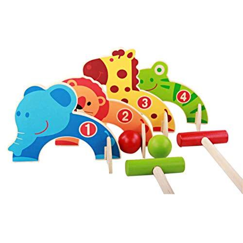 LifeBest Kinder Krocket Set Cartoon Holz Tor Ball Spielzeug Kinder Entwicklung Spielzeug Eltern Kind Spiel Golfspiel Golfschläger Spielzeug für Kleinkinder