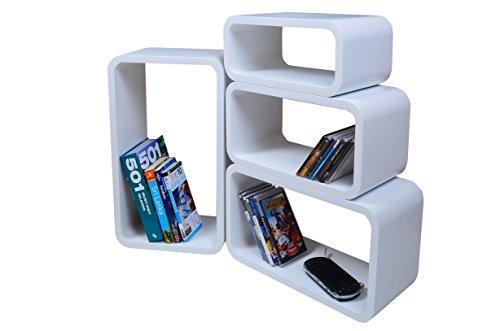 Cube Verstärkte Vielen Farben MDF Retro Design 4er Set Regal Regale Wandregal Deko Würfel CD DVD Lounge LO01 (Weiß)