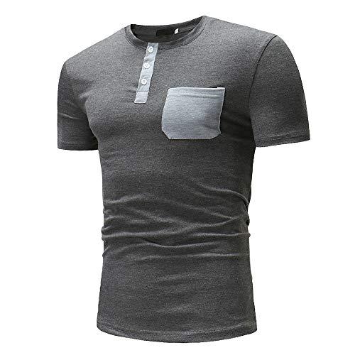 Tshirt Hombres Verano Color A Juego con El Cuello Redondo Hombres Manga Corta Tapeta con Botones Camisa Deportiva Hombres Elástica Delgada con Bolsillos Casual Hombres Camiseta B-Gray L