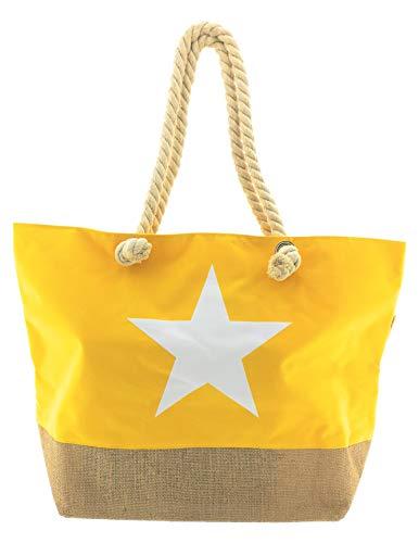 MC TREND XXL Strandtasche mit Stern Strand Tasche Beach Bag Shopper Größe ca. 54 x 37 x 19cm (Gelb mit weißem Stern)