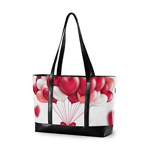 XiangHeFu Mode Schulter Einkaufstasche Handtasche Große Kapazität Computer Valentinstag Schöne Herz Ballon Casual