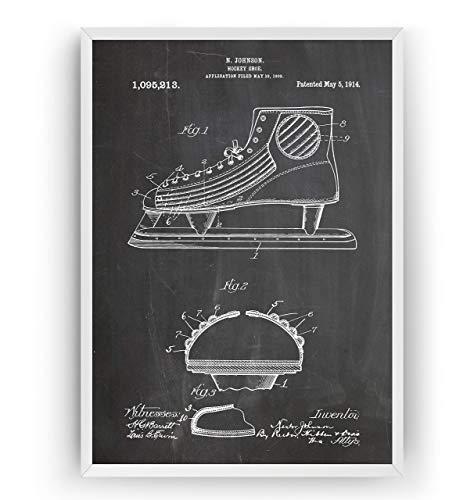 Eishockey Schlittschuhe 1914 Patent Poster - Eishockey Eislaufen Jahrgang Drucke Drucken Bild Kunst Geschenke Zum Männer Frau Entwurf Dekor Art Blueprint Decor - Rahmen Nicht Enthalten