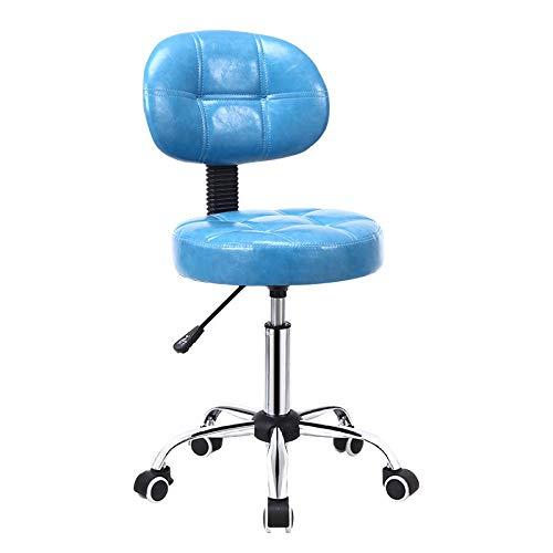 ZFMLXFMM Giratorio Taburete,Taburetes de Bar, sillones de Belleza para peluquería, sillón de Laboratorio, Taburete de Trabajo @ Roller_Blue