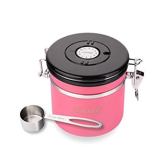 Schramm® Kaffeedose 1200 ml in 10 Farben mit Dosierlöffel Höhe: 12cm Kaffeedosen Kaffeebehälter aus Edelstahl, Farbe:Pink