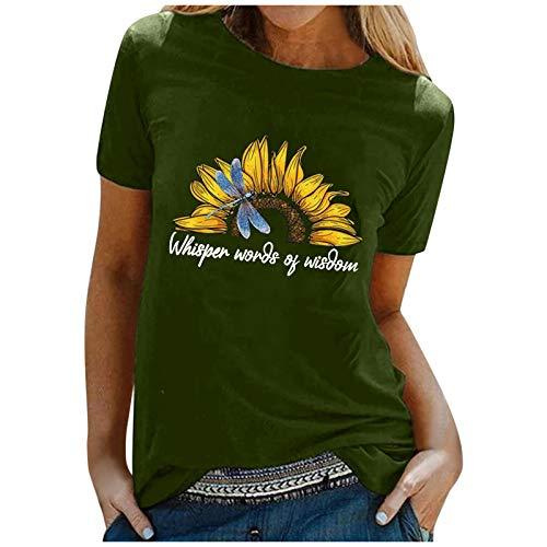 Camiseta de manga corta para mujer, diseño de diente de león y flores, estilo informal, cuello redondo, B-verde., S
