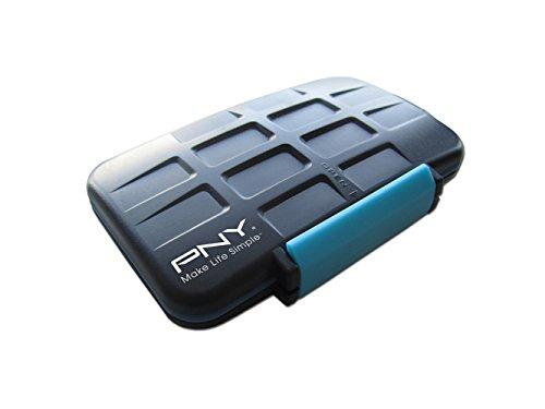 PNY CASECF4SD8-RB - Caja de Tarjetas de Memoria, Color Negro