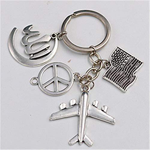 Antieke zilveren Anti-War Vrede Logo & Sleutelhanger Vliegtuig Sleutelhanger Diy Creatief Metaal Handgemaakte Sleutelhanger