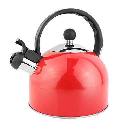 tea kettle 2.5L Whistling Kettle for Stove Top en Acier Inoxydable, Poignée Ergonomique Résistant À La Chaleur, Maison Cuisine Teapot/Rouge (Couleur : Rouge, Taille : 2.5L)