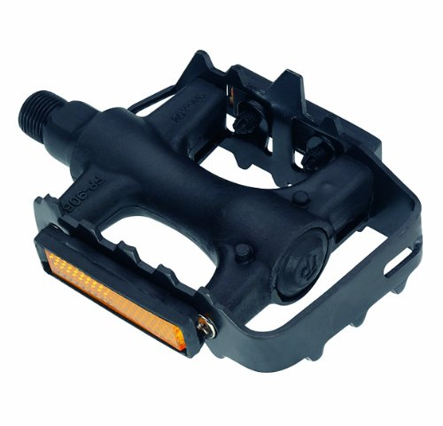 Point 09006100 - Pedal para Bicicleta de montaña y Cross (plástico y Acero), Color Negro
