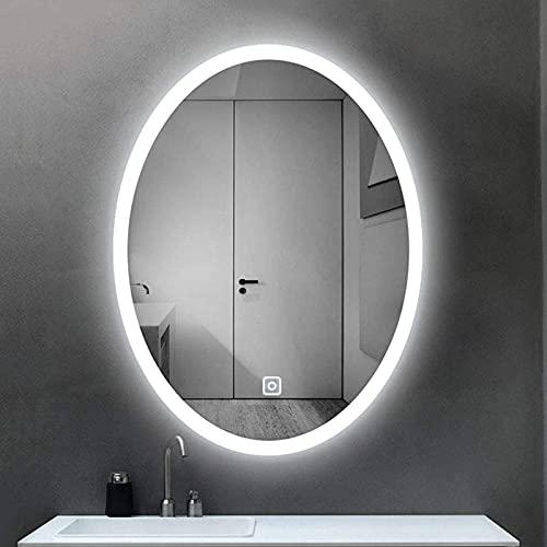 YLDXP Backlit LED Bathroom Mirror, LED Lighted Oval Vanity Mirror Bathroom Makeup Mirror, Modern Smart Touch Wall Mirror Anti-Fog