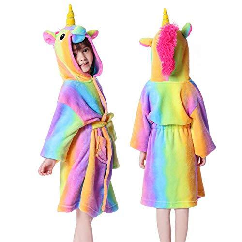 IAMZHL Albornoz para Mujeres, camisón para niños, Traje de baño de Animales, Bata para niños y niñas, Ropa de Dormir cálida de Invierno, Pijamas de Dibujos Animados-rain-bow-2-16