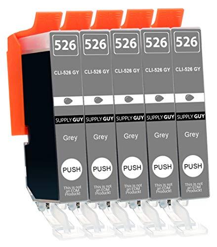 5 Cartuchos de Tinta con viruta Compatible con Canon CLI-526 (Gris) para Canon Pixma MG6150 MG6200 MG6250 MG8150 MG8200 MG8240 MG8250