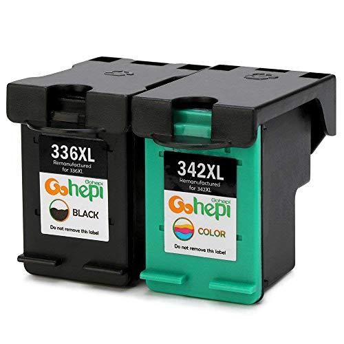 Gohepi 336XL/342XL Kompatibel für Druckerpatronen HP 336XL 342XL, 1 Schwarz/1 Tri-Farbe 2er-Pack Arbeit mit HP Photosmart 2713 2710 2575 C3180 8150 D5160, HP Officejet 6310 6313 6315