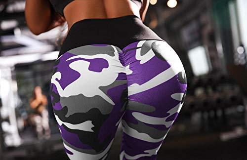 B/H Pantalones de Yoga para Mujer Deportiva Atlético,Pantalones de Fitness de Cintura Alta con Estampado de Camuflaje,Pantalones de Yoga de Cadera-púrpura_M,Pantalones de Yoga/Pilates súper Suaves
