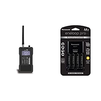 Whistler TRX-1 Handheld Digital Scanner Radio & Panasonic K-KJ17KHCA4A Advanced Individual Cell Battery Charger Pack with 4 AA eneloop pro High Capacity Ni-MH Rechargeable Batteries,Black,4-Pack