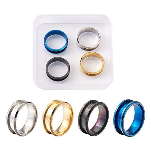 Craftdady 4 anillos de acero de titanio 316L núcleo en blanco 8 mm alto pulido ranurado anillo de dedo para hombres incrustación anillo de joyería, 4 colores