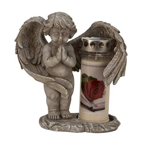 myToyscenter Engel staand & betend met grote vleugels grijs zonder kaars h = 27