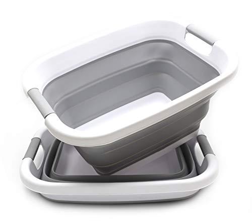 SAMMART Satz von 2 zusammenklappbaren Wäschekorb/Wanne-Faltbarer Aufbewahrungsbehälter/Organizer-Tragbarer Wäschebehälter-Platzsparender Wäschekorb-Aufbewahrungsbox für den Kofferraum (Grau, 2)