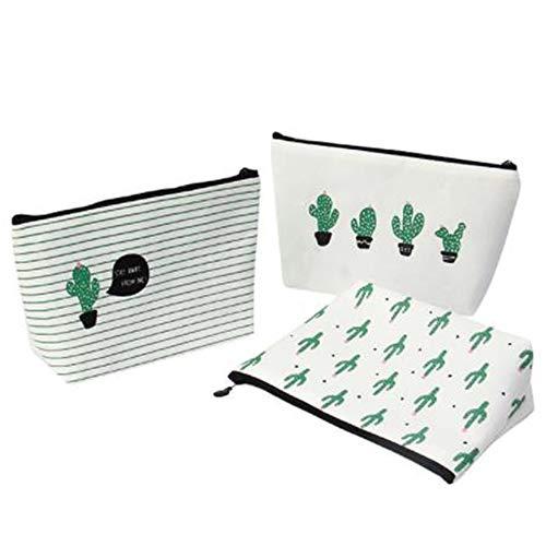 Limeow Kosmetiktasche Aufbewahrungstasche 3er Pack Aufbewahrungstasche Reisetasche Kosmetik Aufbewahrungstasche Kaktus Leinentasche