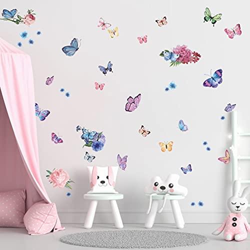 33 pcs Pegatinas de Ventana de Mariposas,Pegatinas de Ventana de Mariposas y Flores para Dormitorio de Niñas,Habitación de Niños, Decoración de Ventana de Fiesta