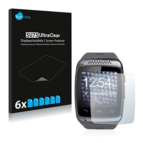 Savvies 6X Schutzfolie kompatibel mit GoClever Chronos Colour Smartwatch Displayschutz-Folie Ultra-transparent