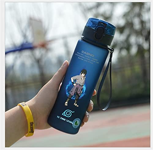 CHBT Anime Naruto - Botella de agua de plástico anticaída, para regalo de estudiantes al aire libre (azul-K)