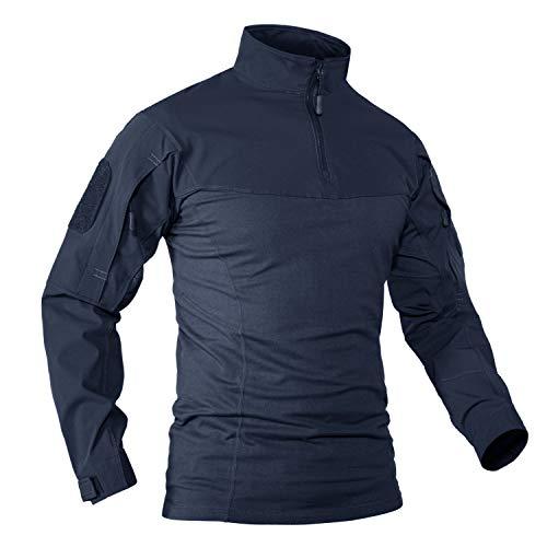 KEFITEVD Maglietta militare da uomo Combat Army con superfici in velcro, slim fit, tattica, abbigliamento da uomo, a maniche lunghe, blu scuro, taglia M
