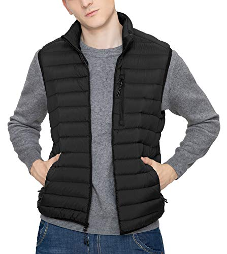 LAPASA Men's Lightweight Water-Resistant Puffer Vest REPREVE Packable Stand Collar M70