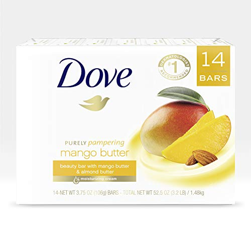 Dove Beauty Bar To Moisturize Dry Skin With Mango Butter More Moisturizing Than Bar Soap 3.75 oz 14 Bars