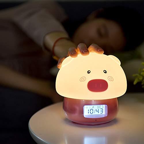 Lampe de bureau Cartoon Silicone Piggy Alarm Clock Recorder Touch Remote Control Led Night Light Usb Digital Alarm Clock Children Toys