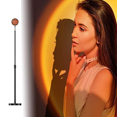 JPENG LED Lámpara de Proyección Sunset Sunset Lamp USB Lámpara de Proyección Arcoíris Lámpara de Noche Lámpara de Noche para Salón Lámpara de Pie,Estirar de 40cm a 75cm