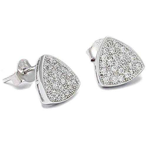 Women Earrings Silver Plated Triangle Shape Ear Studs Women's Earrings Novelty Jewelry- Silver with White Cubic Zirconia Ear Bracelets Earrings Rings Necklaces