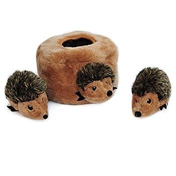 ZippyPaws Burrow Squeaky Hide and Seek Plush Dog Toy, Hedgehog Den