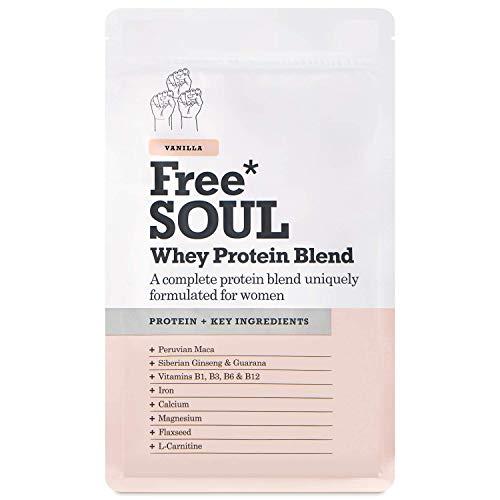 Free Soul Proteína Whey en Polvo Mujer/Whey Protein | 80% Con Ingredientes Naturales para la Nutrición, Equilibrio Hormonal, Mental y Energético | sin Gluten o Soja | 600g Vainilla